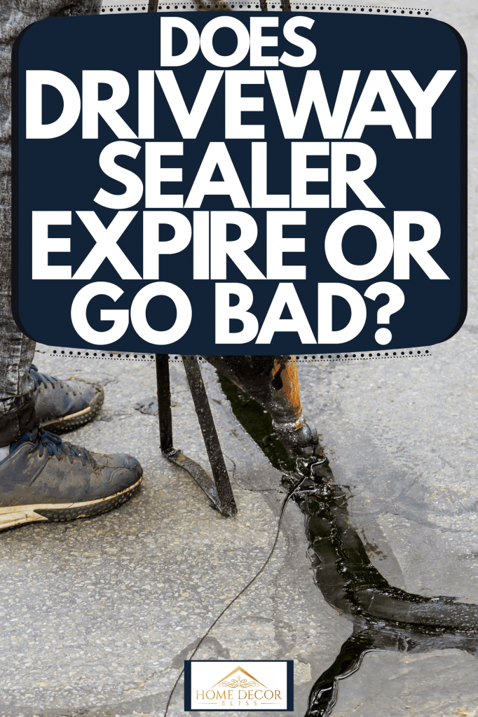 A man putting driveway sealer on the driveway, Does Driveway Sealer Expire or Go Bad?