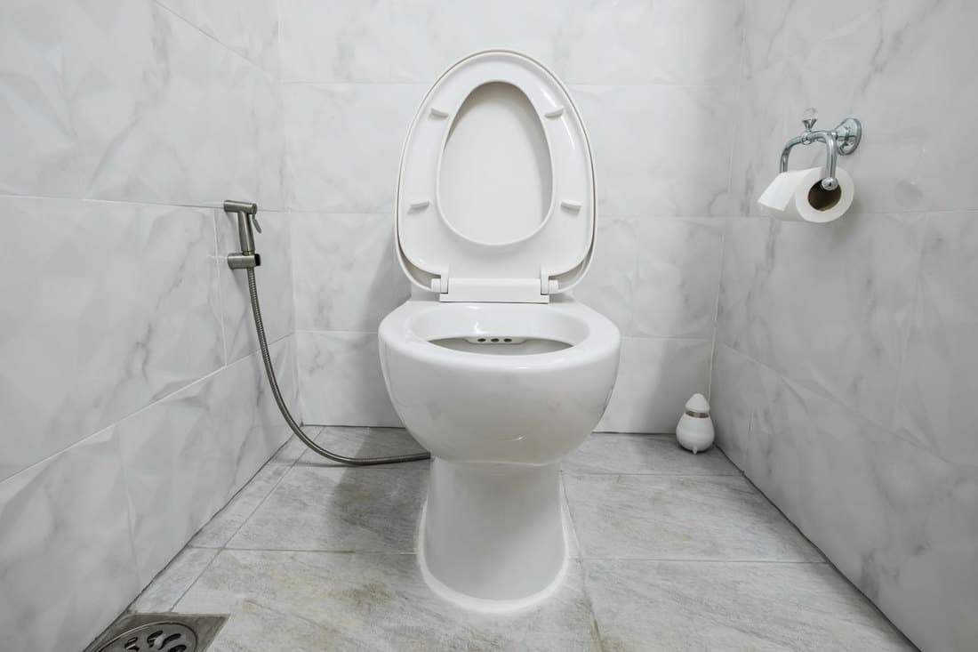 Domestic modern restroom with white lavatory and a bidet