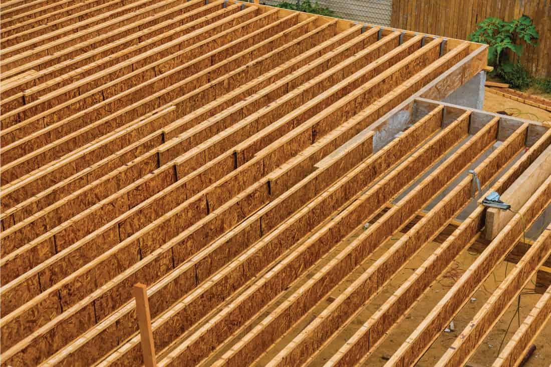 Engineered wood floor joist on a new custom home