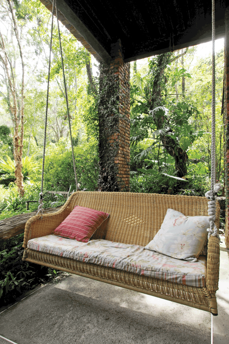 Front porch swing with comfortable pillows
