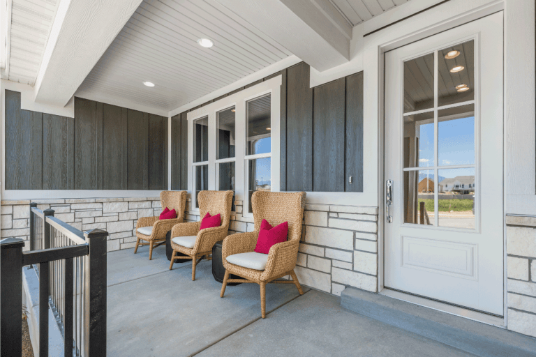 Front porch with modern stone work and siding. What Is The Best Tile Floor For A Porch