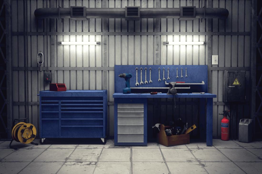 Garage workshop with tools & equipment