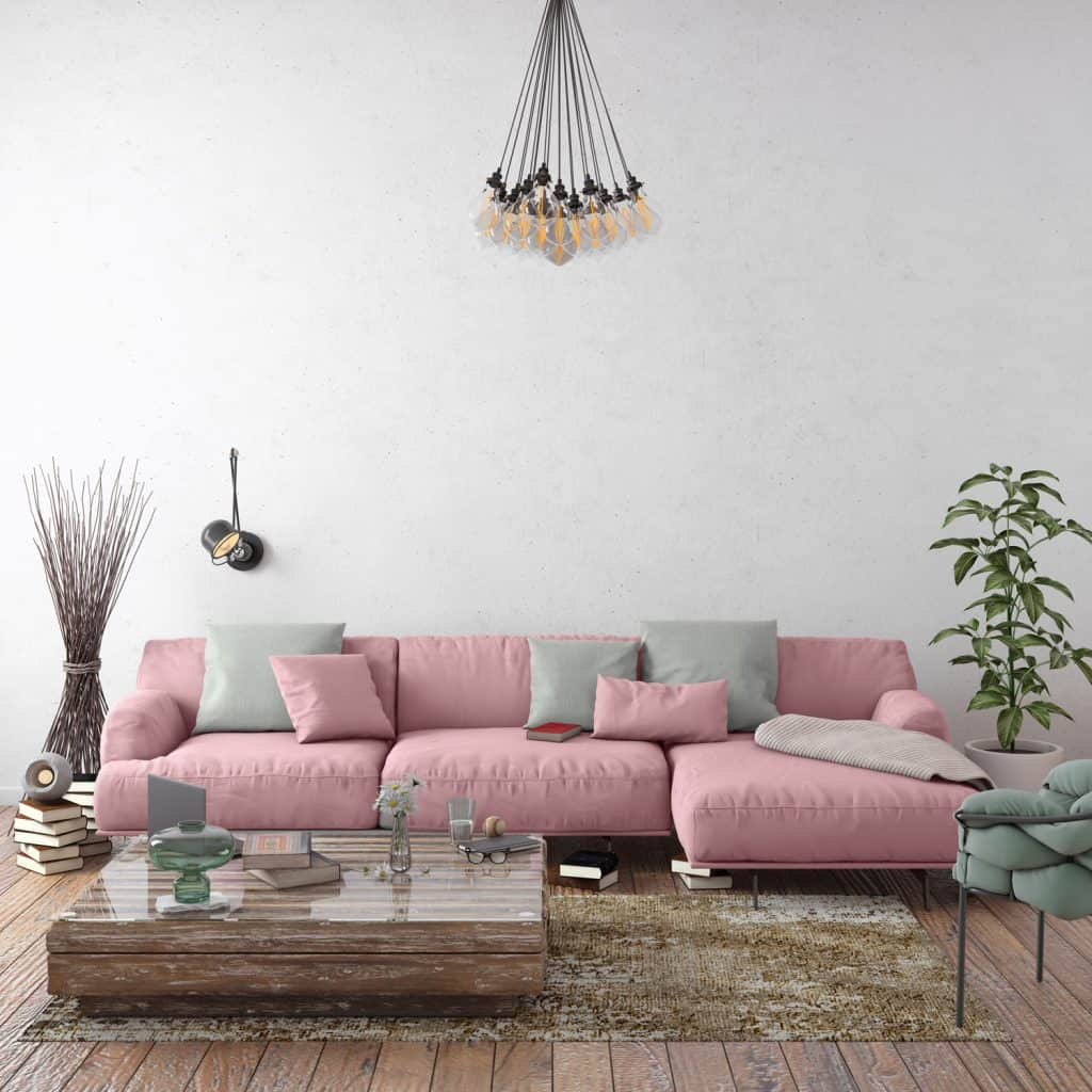 Home apartment interior, living room with large sofa, lots of decor and elements, plant, vase, coffee table, carpet, pastel colors with many elements around