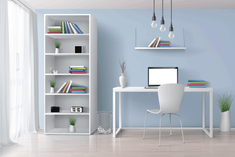 Home office sunny room with simple, white furniture, bookshelf on blue wall. Do Ikea Billy Bookcases Sag