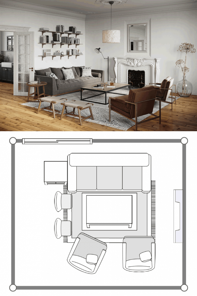 Industrial themed living room with a gray sleeper sofa, gray throw pillows, and two accent chairs infront with a coffee table in the middles
