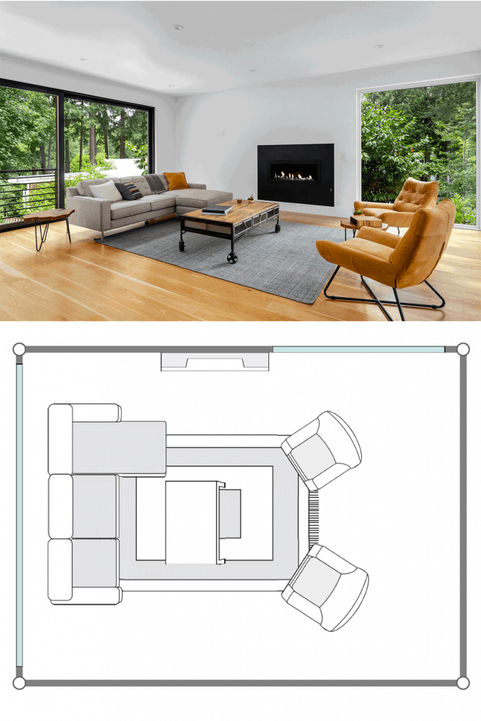 Interior of a contemporary inspired living room with sectional sofas, brown accent chairs, and a gray rug in the middle located in the forest