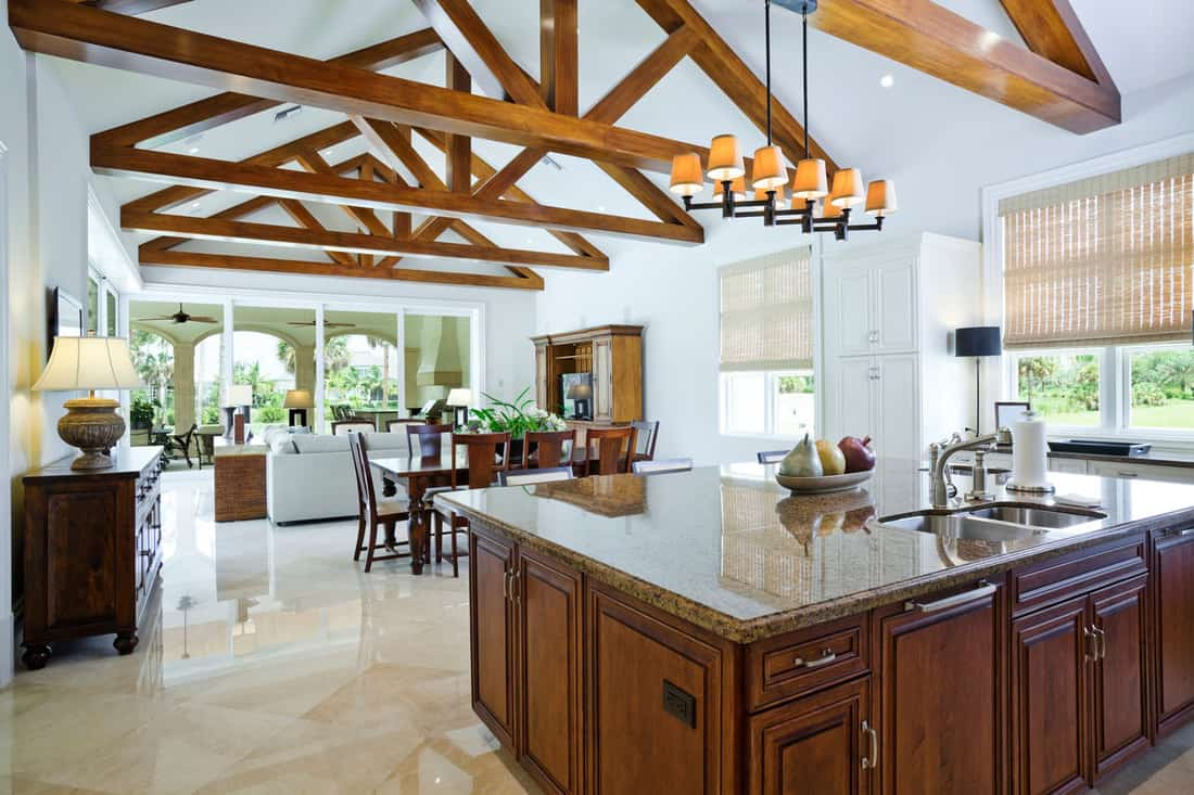 Kitchen with a View and a truss detail exposed, 11 Unique Ceiling Ideas For Living Room You Need To See