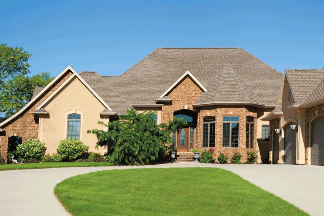 Large Brick Stucco Mansion Home Panorama, estate ranch