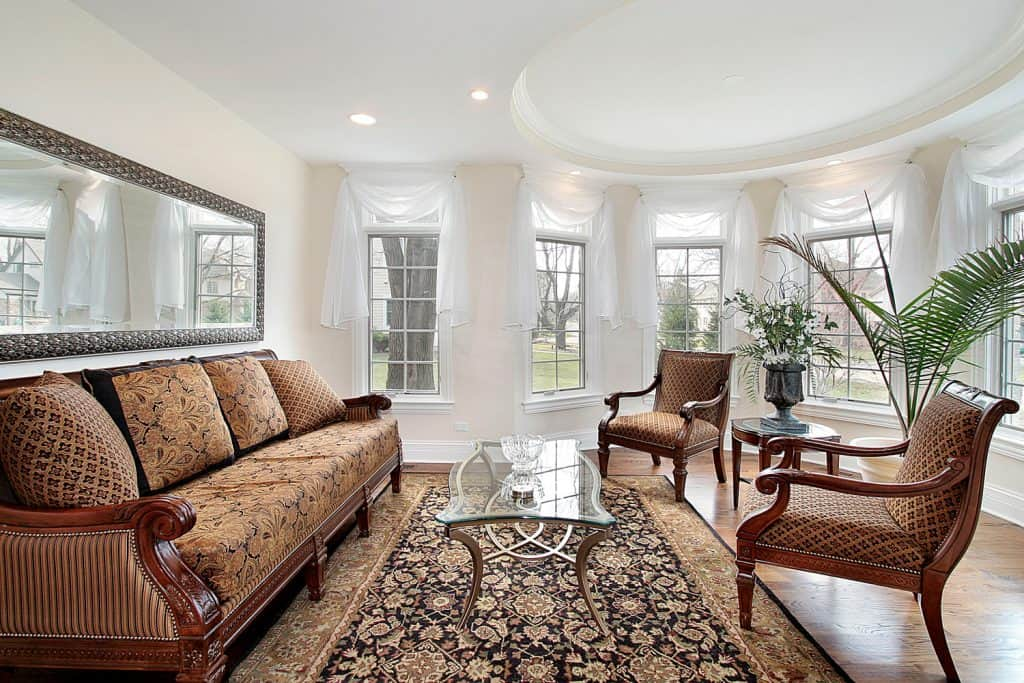 Living room in luxury home with oval dome vaulted ceiling