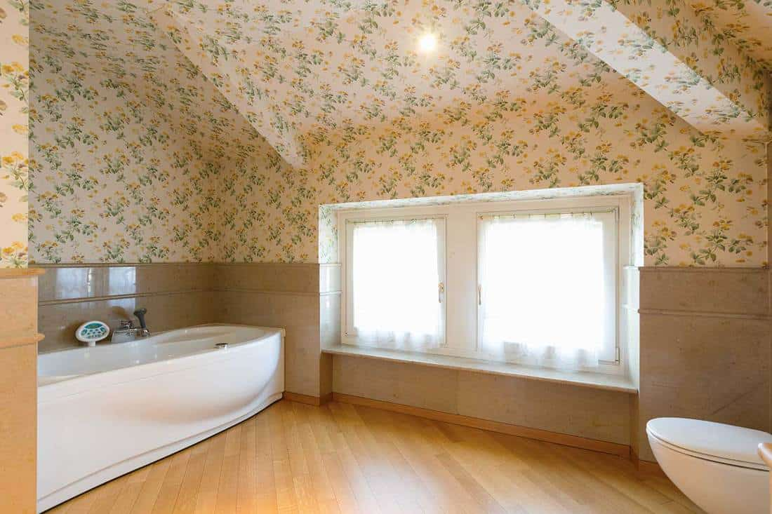 Luxurious bathroom with upholstery