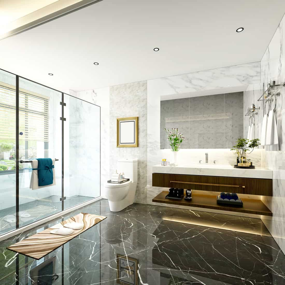 Luxury Bathroom with Gorgeous Framed Mirror In Addition To The Vanity Mirror
