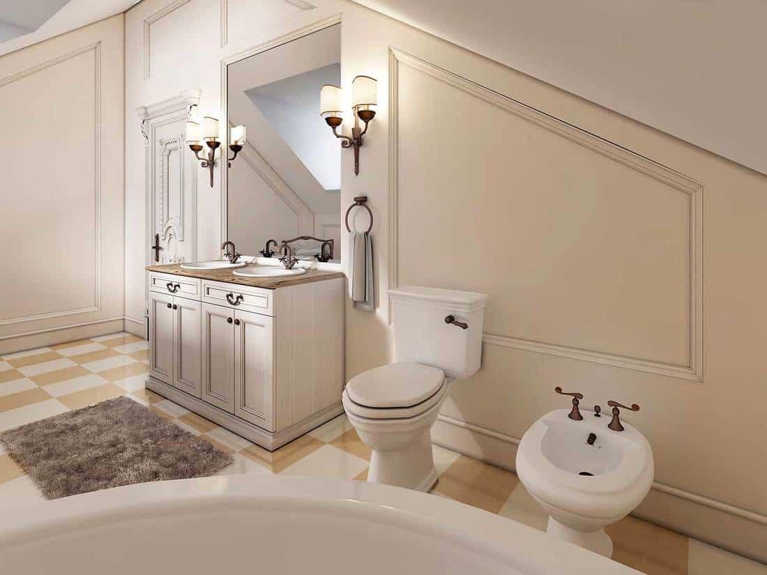 Luxury bathroom on the attic floor