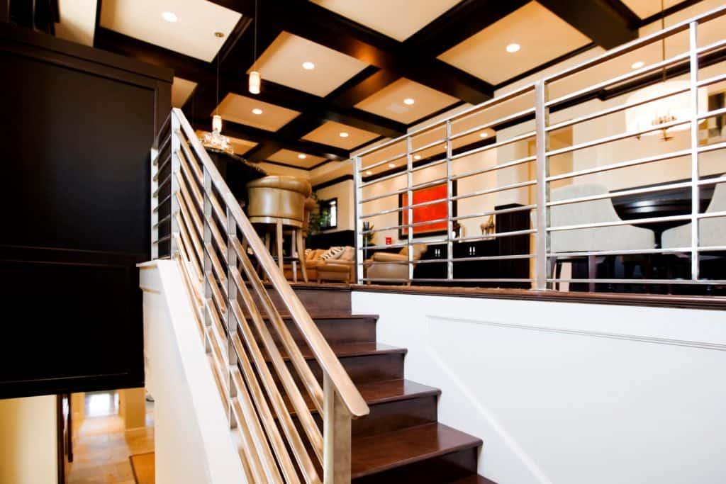 Metal stair railing in a ultra modern new home