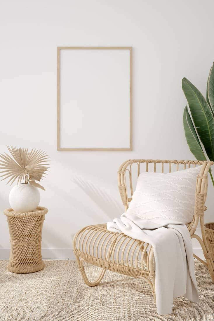 Mockup frame in coastal boho style interior