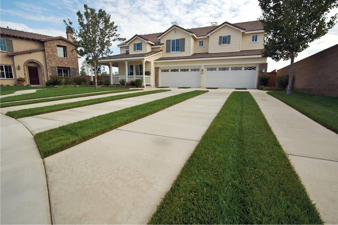 Modern Home Facade and Driveway with grass pavers