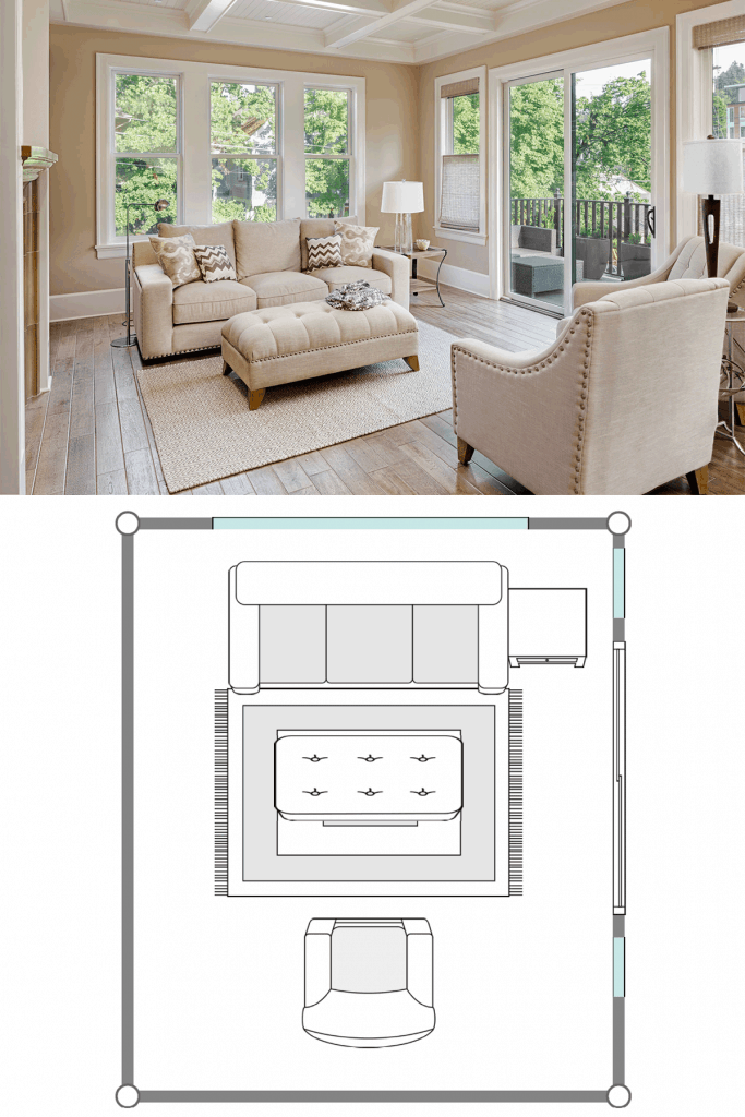 Modern gorgeous living room with beige painted walls, antique inspired sleeper sofas, and a white accent chairs