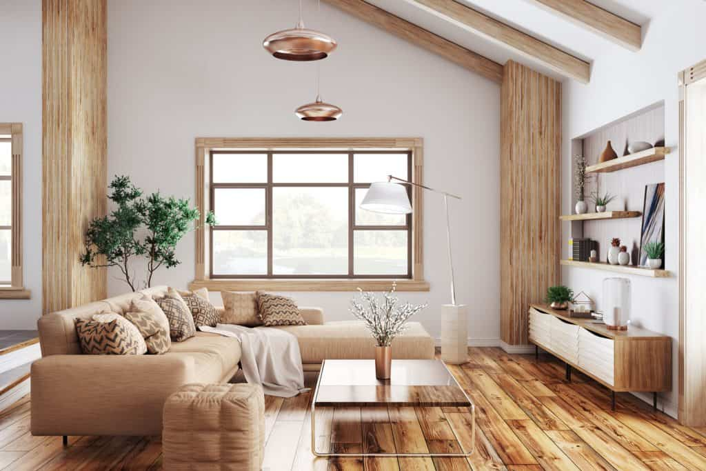 Modern interior of living room with beige sofa
