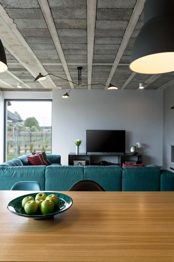 Modern living room with concrete roof and turquoise couch