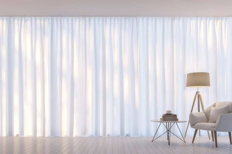 Modern white living room minimal style.There are decorate room with white translucent curtain and white armchair, Will Sheer Curtains Keep Mosquitoes Out?