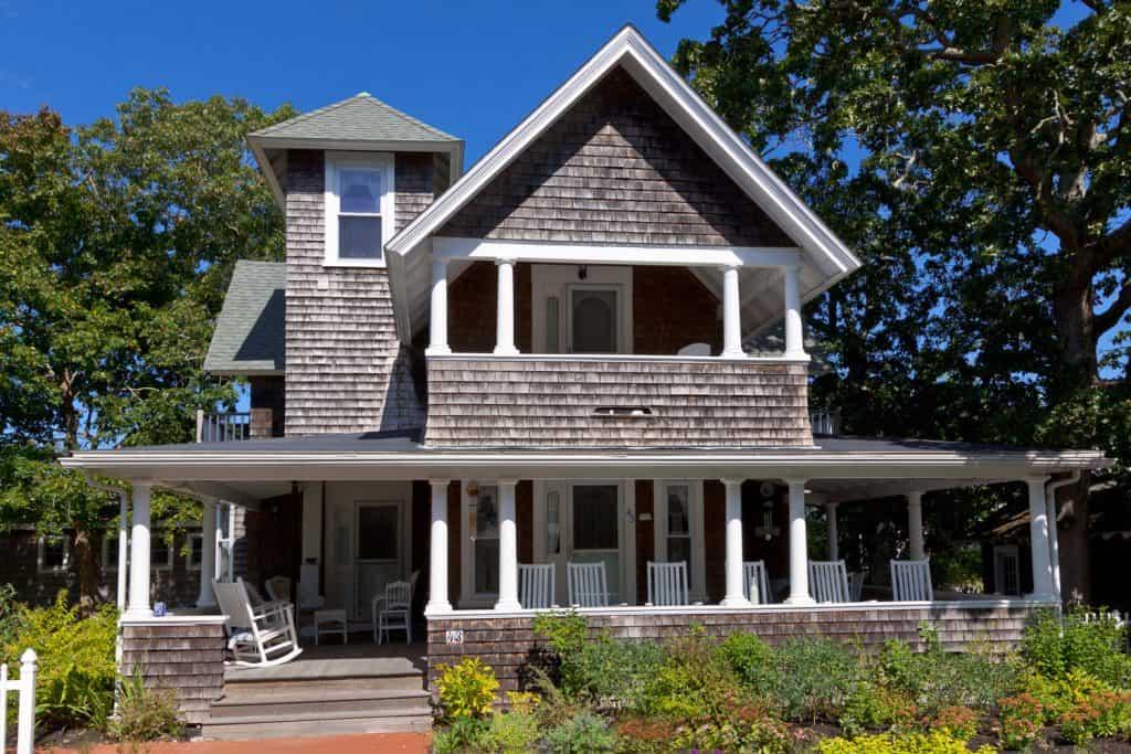 New England House in Oak Bluffs, Martha's Vineyard, on a beautiful autumn day