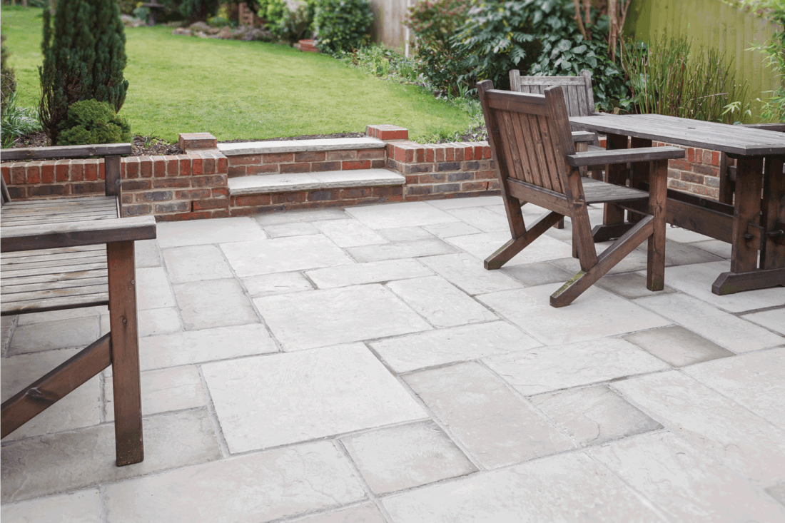 New flagstone patio and backyard, outdoor garden patio with furniture