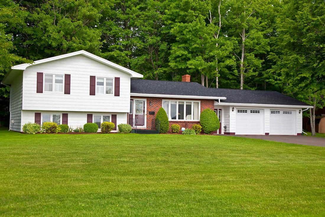 North America seventies era wooden split level home