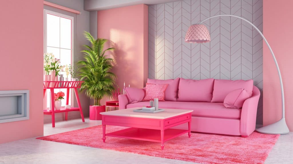 Pastel Pink Living Room with Sofa and Furniture.