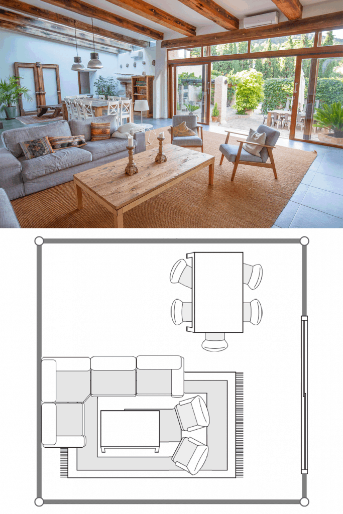 Scandinavian inspired living room with wooden furnitures, huge brown carpet, and a huge sliding door in the back