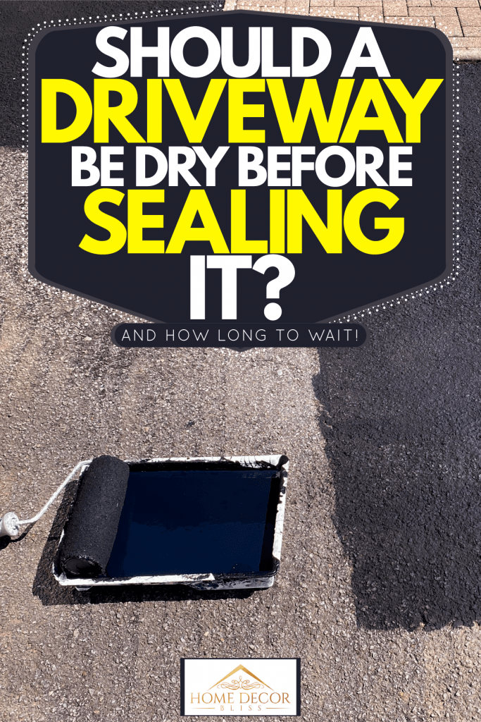 A roller being used to apply asphalt sealant on the driveway, Should A Driveway Be Dry Before Sealing It? [And How Long To Wait!]