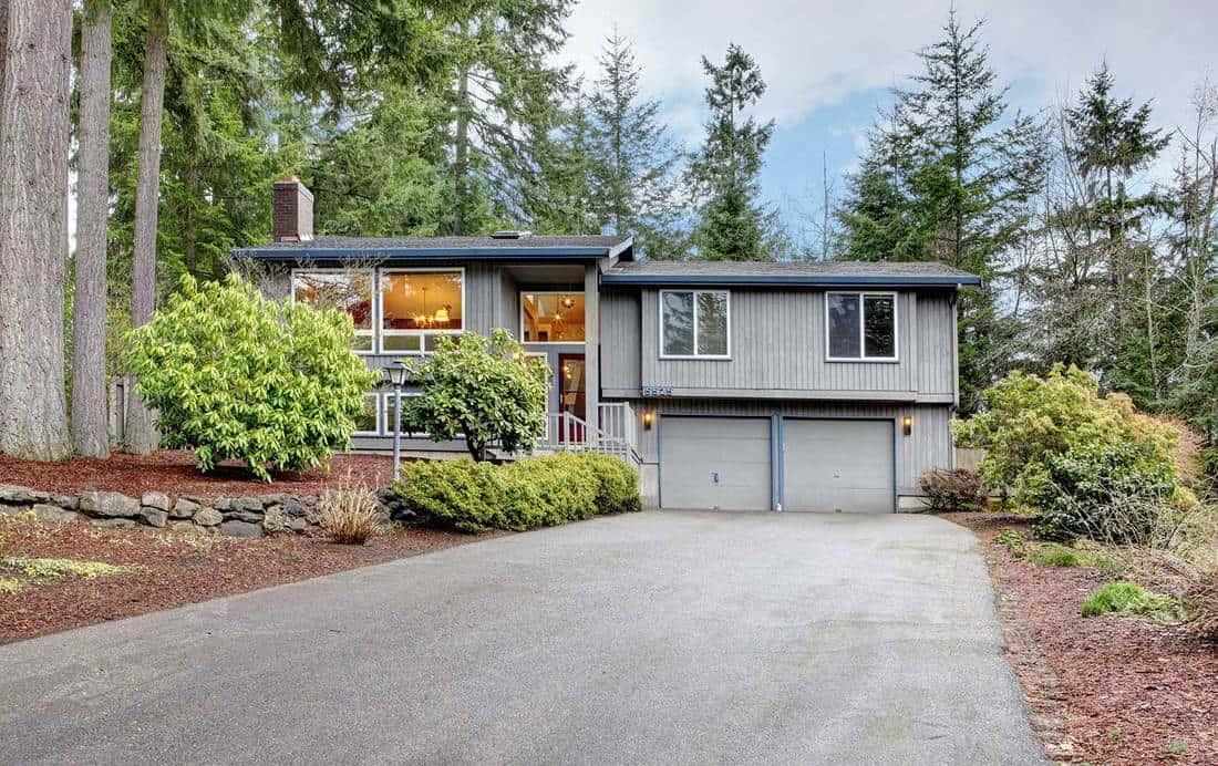 Split level brown gray house front exterior