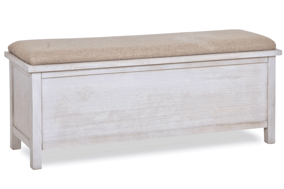 Storage bench in wood and fabric upholstered