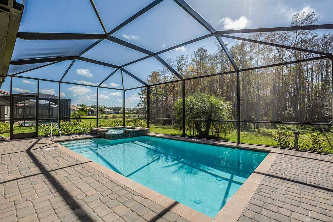 Swimming pool and net enclosure in back of home