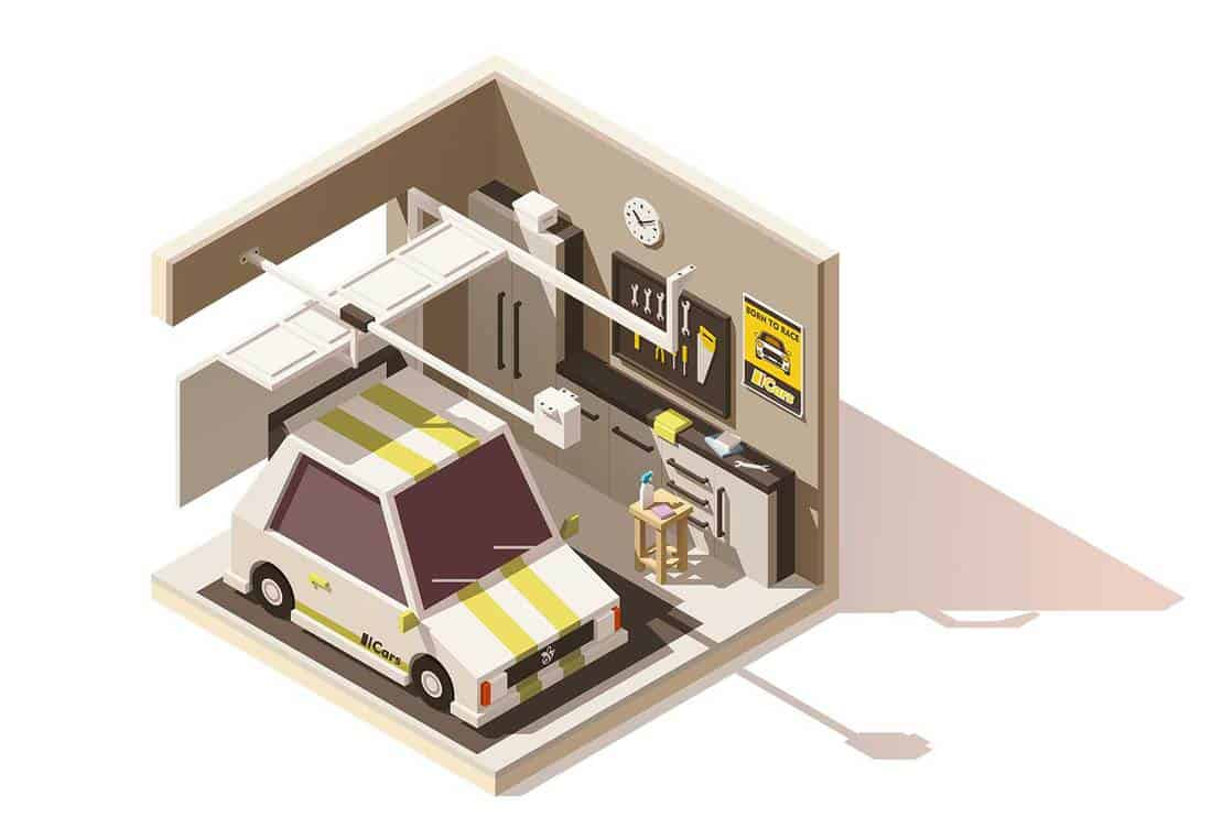 Vector isometric low poly garage icon