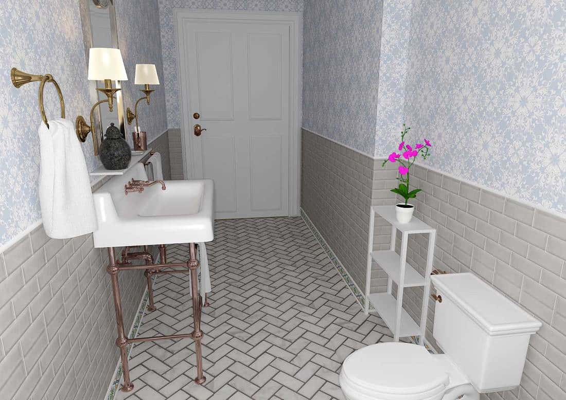 Vintage bathroom with tiled floor and wall
