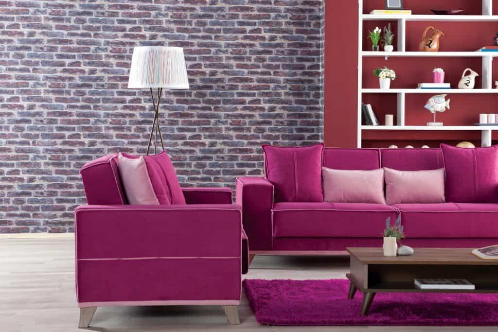 Well Designed pink Living Room.