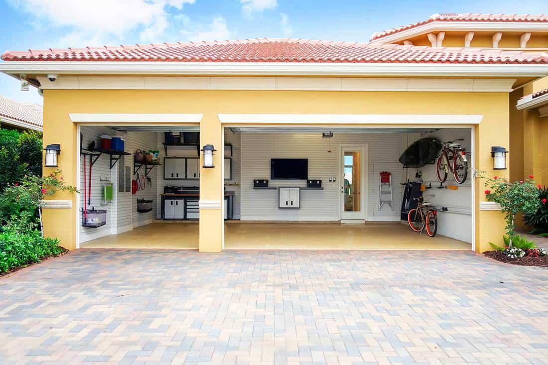 Well-organized clean three car residential garage