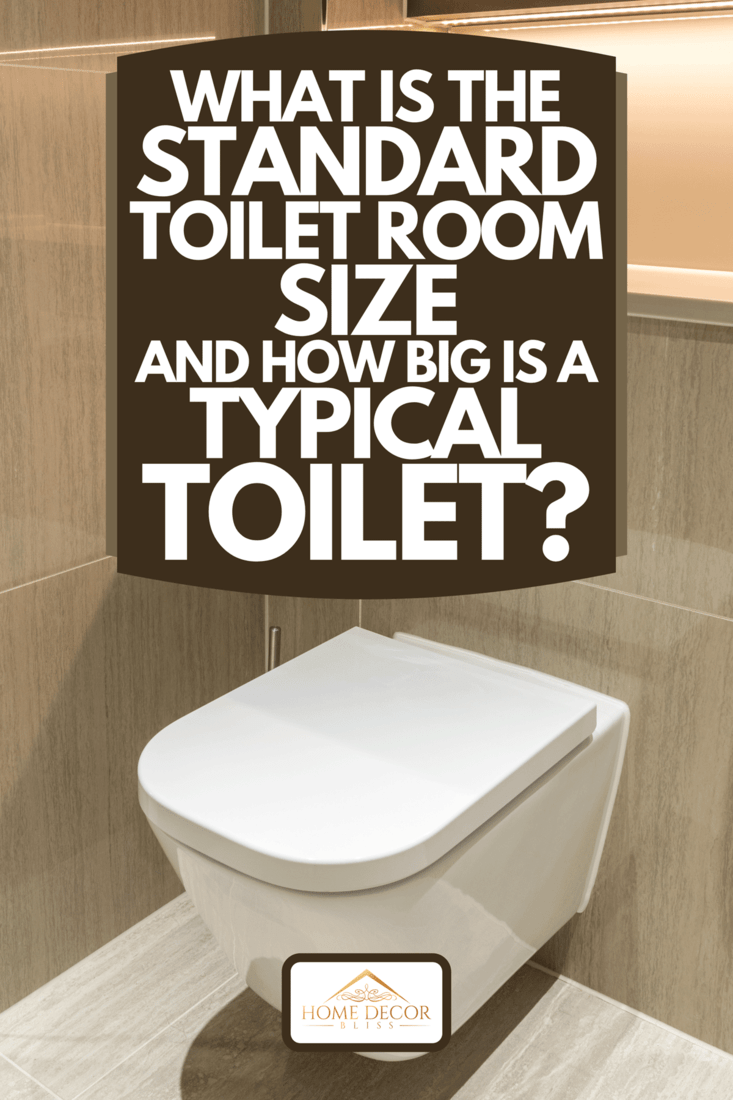 A modern toilet in clean apartment with tiled walls and floor, What Is The Standard Toilet Room Size And How Big Is A Typical Toilet?