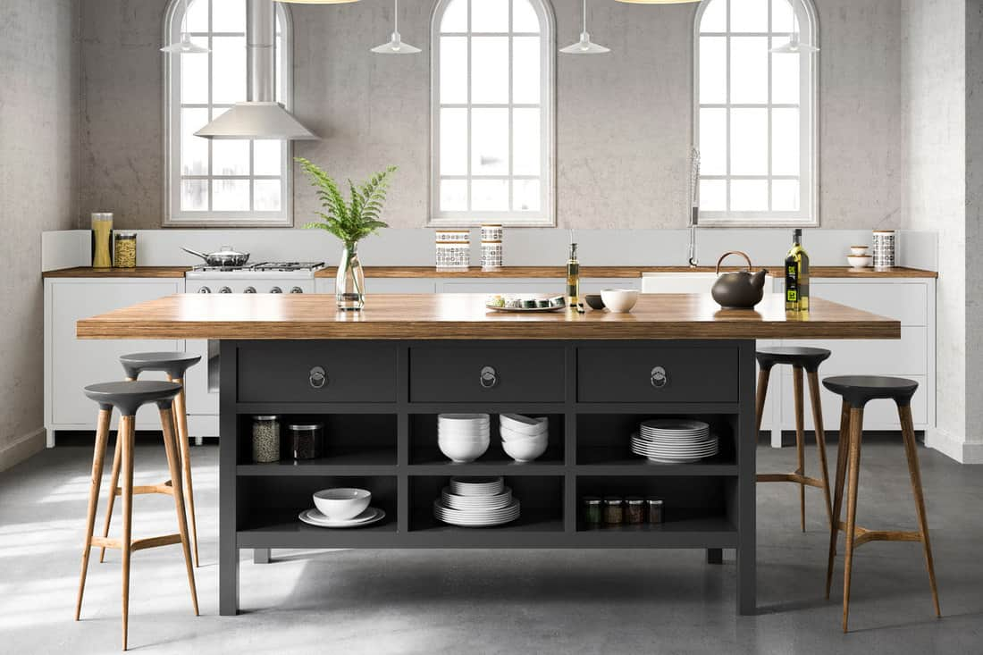 White industrial kitchen interior with grey floors, What Wall Colors Go Best With Grey Floors? [5 Options Explored!]