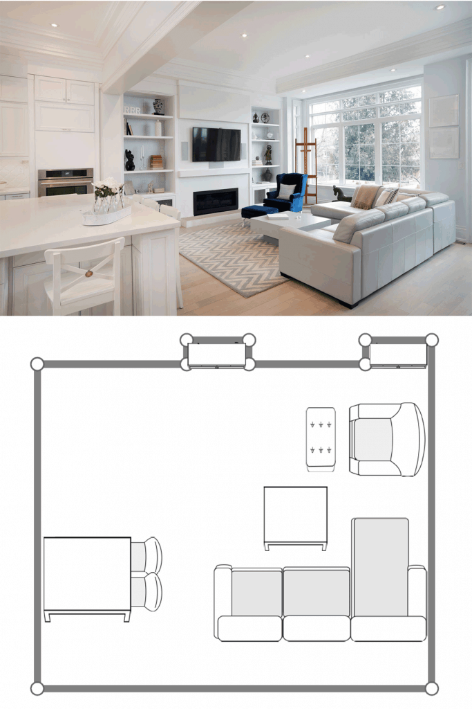 White modern interior living room with a white sectional sofa, white dividers, and a wall mounted TV