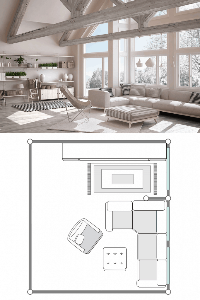 White modern living room with a rustic appeal incorporated with the color white furnitures