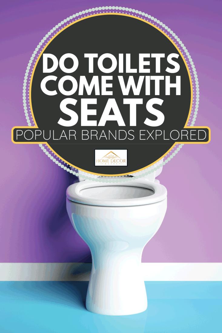White toilet bowl on modern purple and blue background. Do Toilets Come With Seats [Popular Brands Explored]