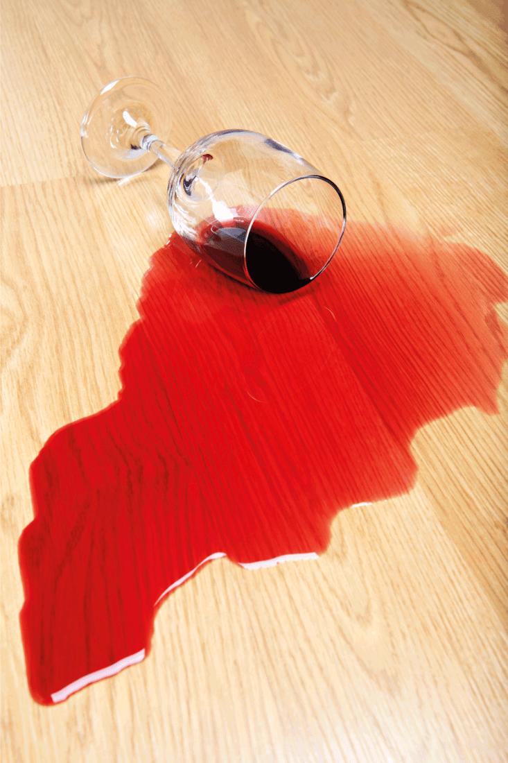 Wine spill on hardwood floor