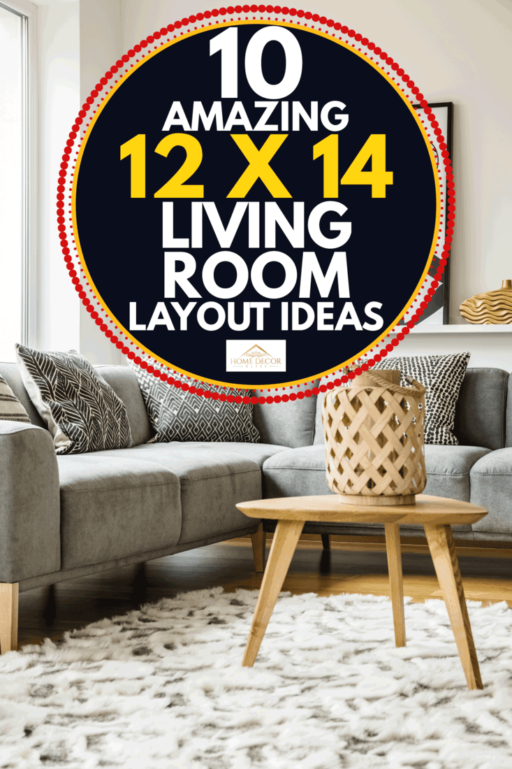 Wooden table on carpet next to grey corner couch in living room interior with poster. 10 Amazing 12 X 14 Living Room Layout Ideas