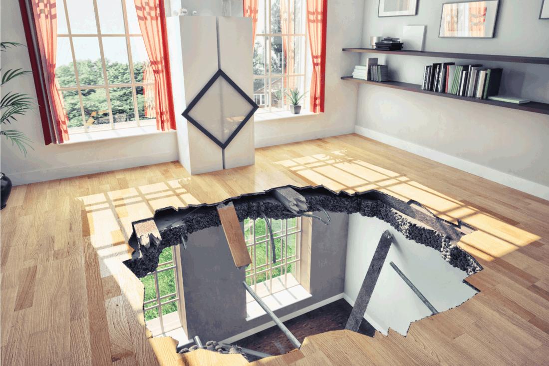 broken floor in a two storey house