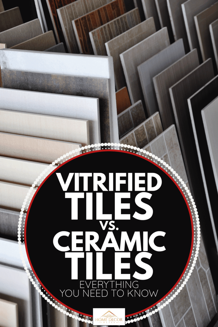 ceramic and vitrified tile samples on a display rack. Vitrified Tiles Vs. Ceramic Tiles - Everything You Need To Know