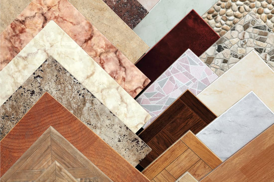 ceramic tile samples laid out on a table