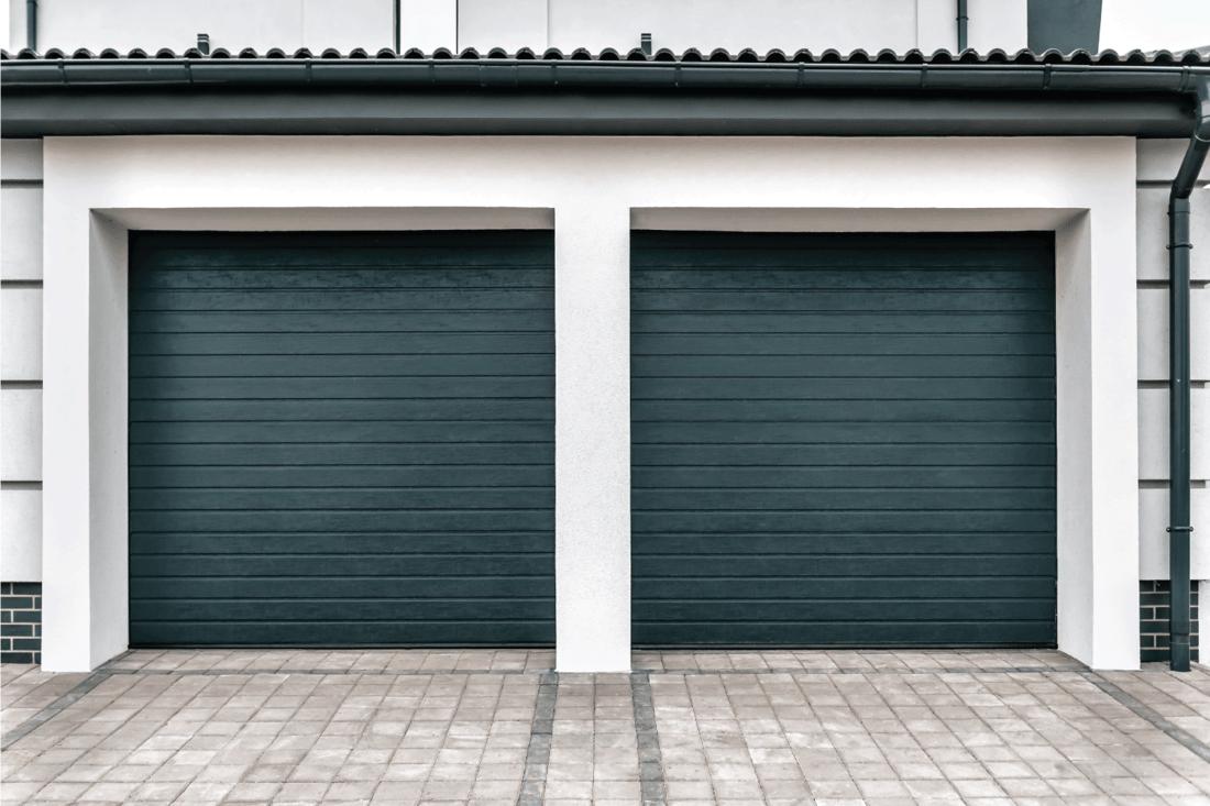 double blue green modern closed garage door