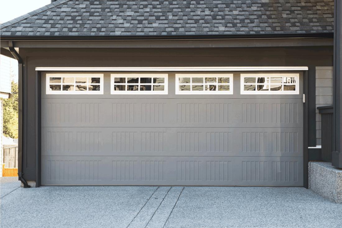 garage door with Rectangular Windows And Patterns