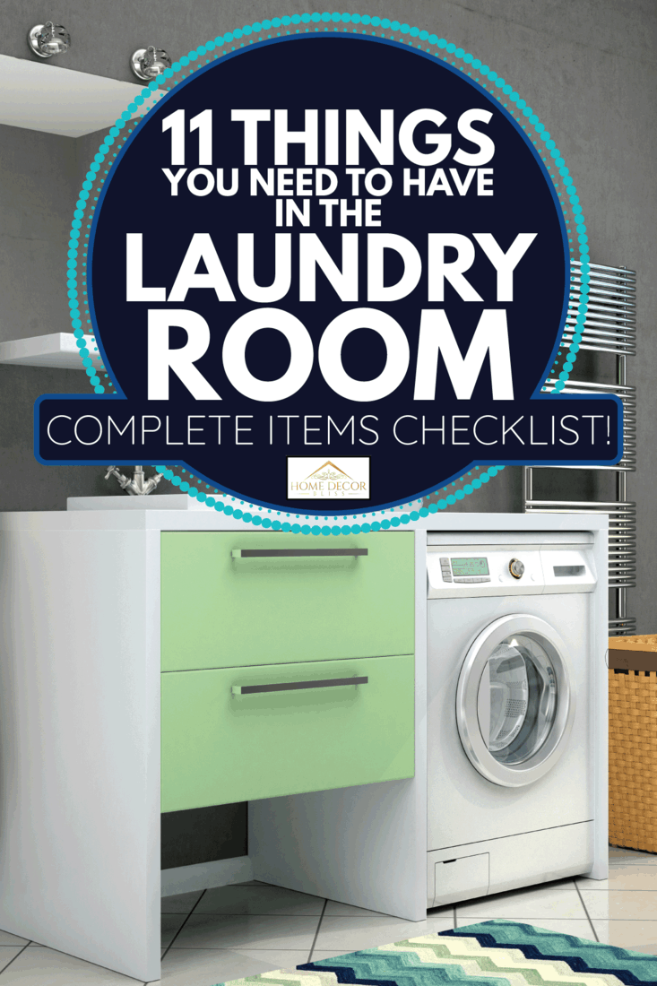 laundry room with gray walls, mint green cabinets, automatic washing machine. 11 Things You Need To Have In The Laundry Room [Complete Items Checklist!]