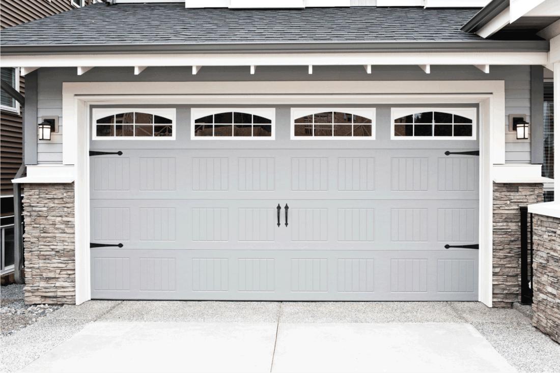 light gray harage doors with windows